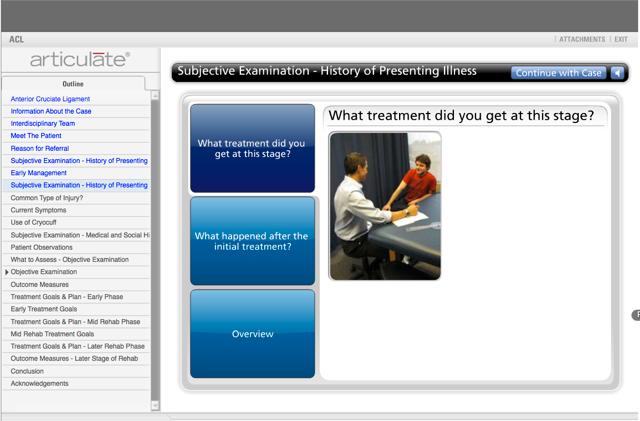 Virtual Patient Case Study Screenshot