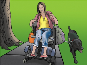 Trish uses an electric chair and has a service dog.