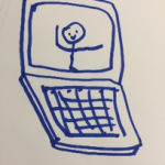drawing of stick man on laptop