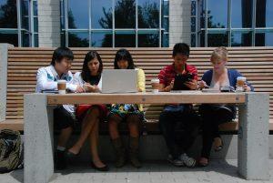 Students at long table