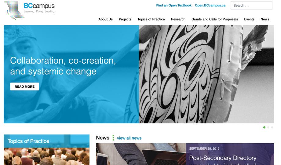 The BCcampus website