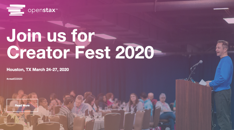 An ad for the next OpenStax Creator Fest in March 2020