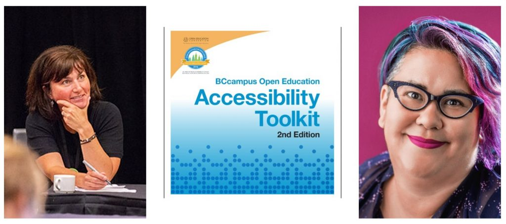A collage of Sue Doner, Tara Robertson, and the cover of the Accessibility Toolkit