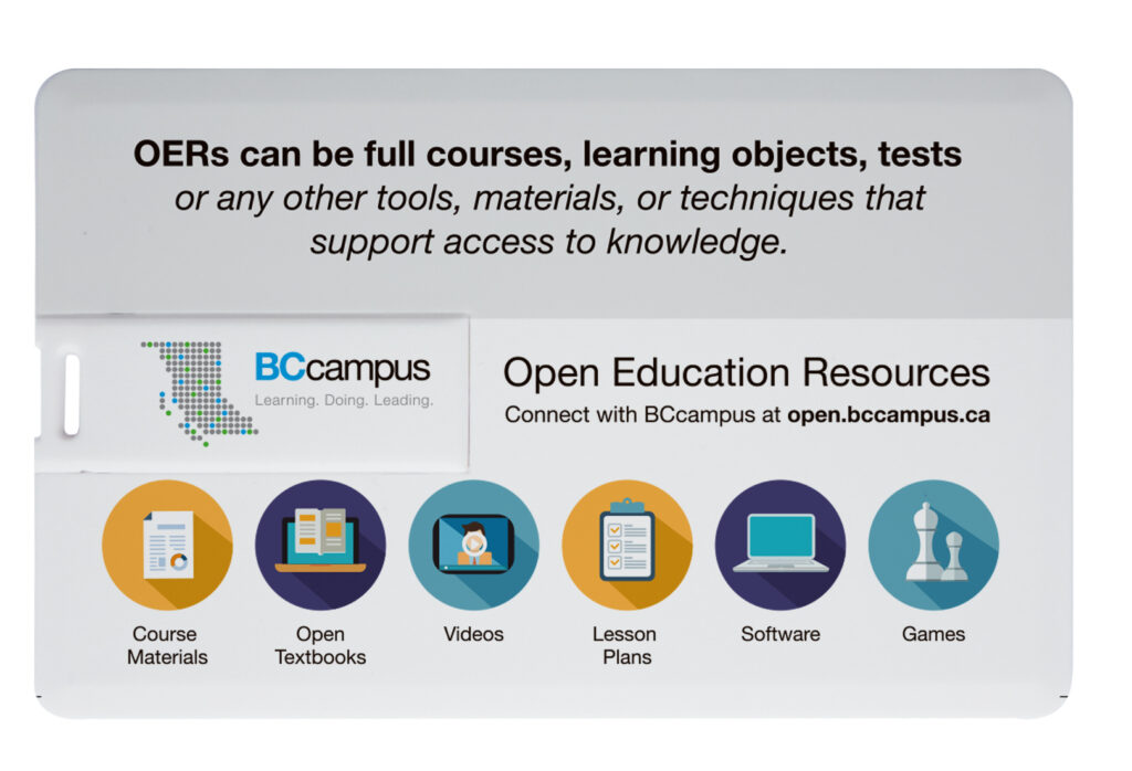 Up close image of front of  open educations usb business card with symbols