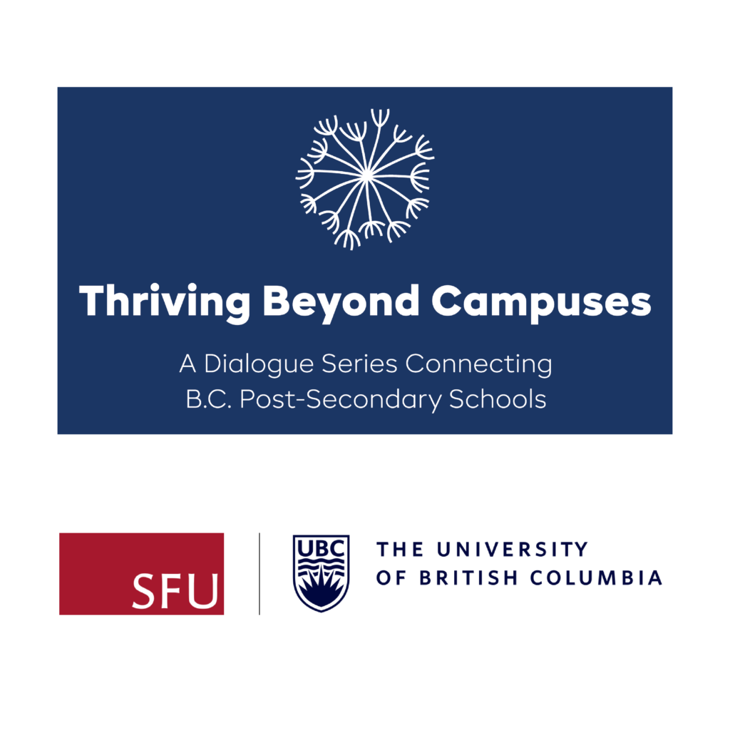 Thriving Beyond Campuses logo with flower along with SFU and UBC logo