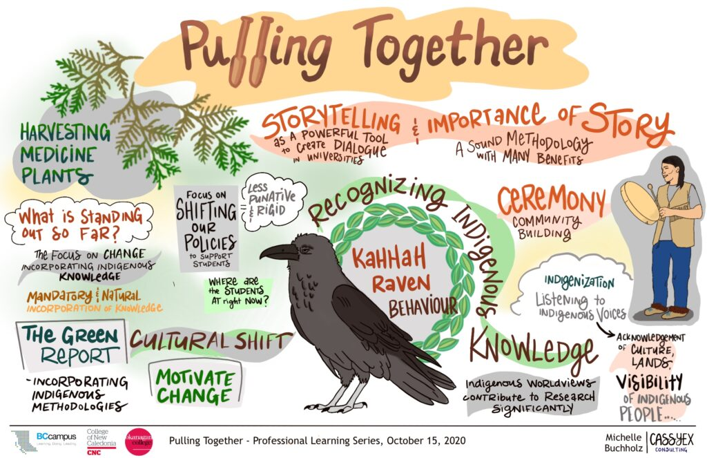"Graphic recording of Session 3. A raven is perched prominently in the center. A person holds a drum on the right side. On the left there are tree branches drawn in green. ""Storytelling and importance of story"", ""Ceremony"", Recognizing Indigenous Knowledge"" are in larger text but there are other themes written in smaller text weaved through out the drawing."