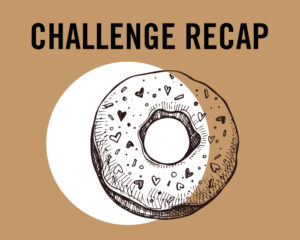 A brown and white graphic of a donut with heart shaped sprinkles with the text above reading: CHALLENGE RECAP