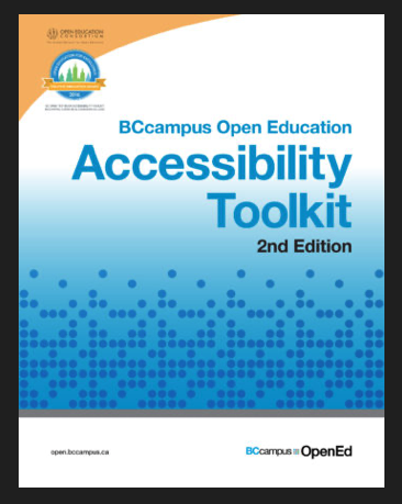 BCcampus Open Education Accessibility Toolkit 2nd edition Opentext book cover. Features graphic of blue dots in bottom third of  cover.