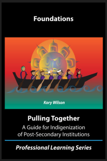 Pulling Together Foundations guide book cover. It features an indigenous artist's rendering of a canoe with 7 people in it paddling together. A large yellow sun with a face is behind them.