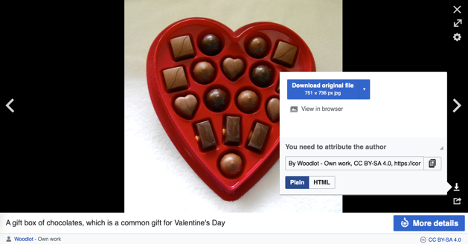 A screen capture of a heart shaped box of chocolates displaying the Wikimedia viewer pop up window in the bottom right corner.