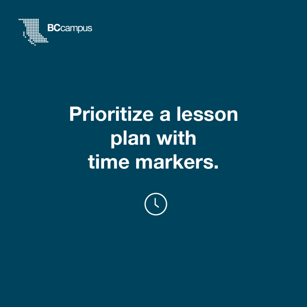 Prioritize a lesson plan with time markers
