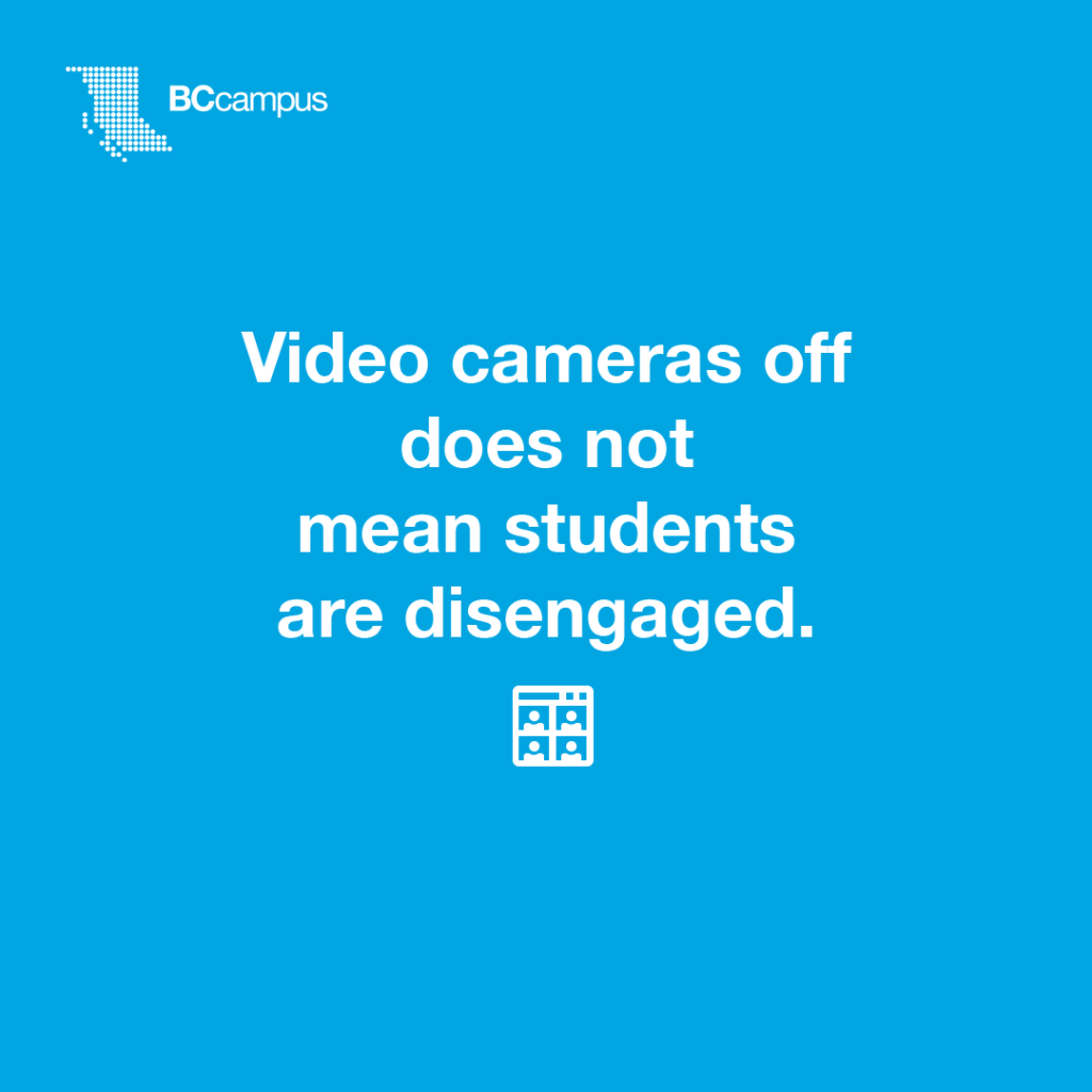 Video cameras off does not mean students are disengaged