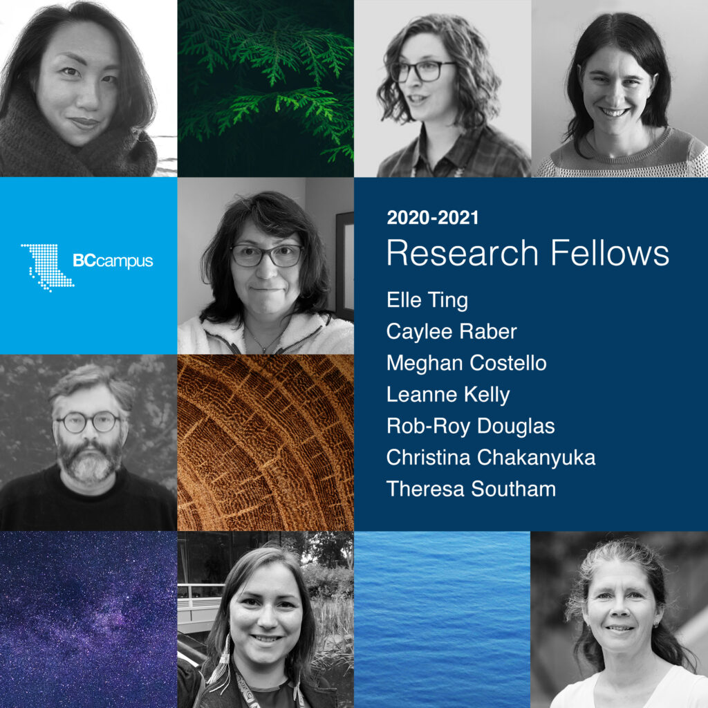 A grid of headshots of the 2020-2021 Research Fellows mixed with images of nature.  The fellows are listed:  Elle Ting; Caylee Raber; Meghan Costello; Leanne Kelly; Rob-Roy Douglas; Christina Chakanyuka; Theresa Southam
