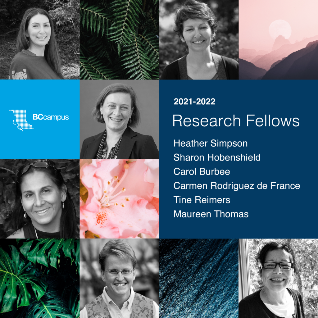Black and white images of the research fellows in a grid style graphic with images of nature and a list of names in the other boxes.