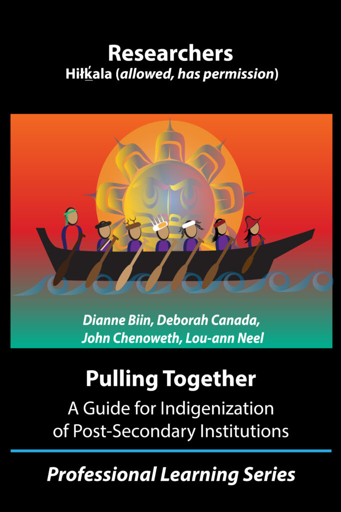Cover image of the Pulling Together Researcher's guide. An artistic rendering of 7 people paddling in a canoe in front of yellow sun in an orange sky is shown.