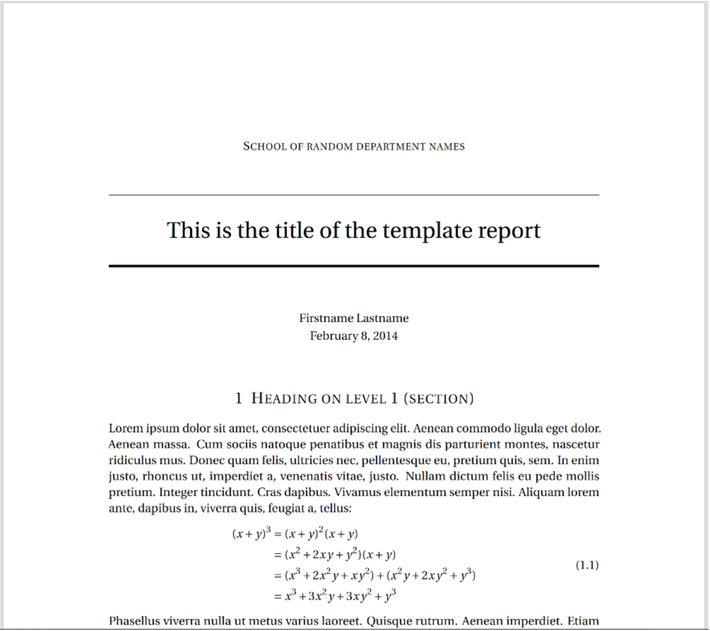A title page of a document is shown. Centered example text, some of which is in latin, and an example of an algrebraic equation is shown as well. the text and format appear seamless.